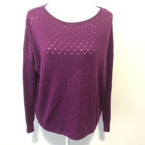 Vince Camuto Purple Heart scoop neck sweater small